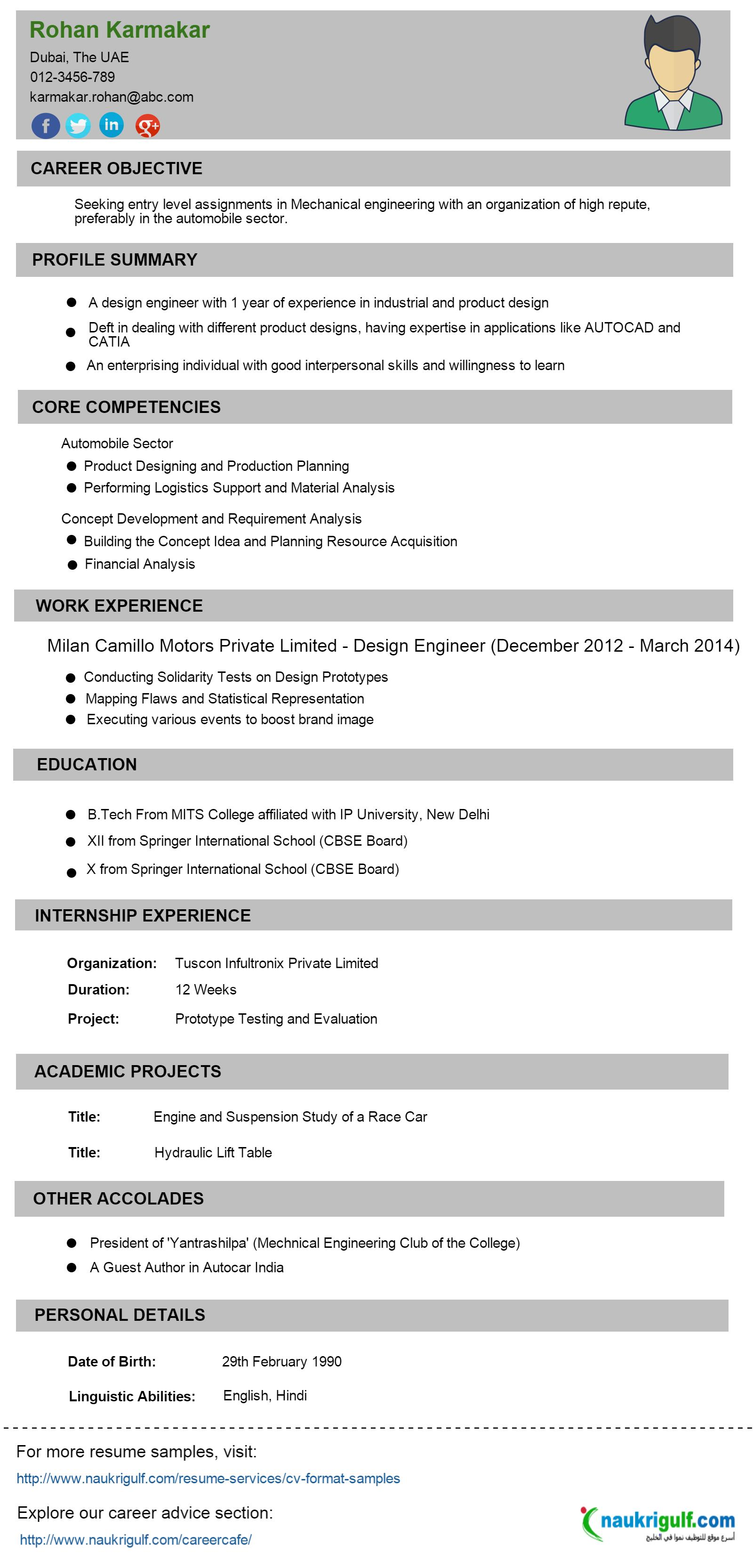cv format for experienced engineers