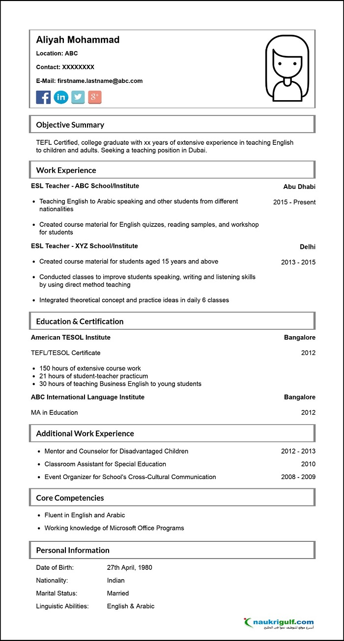 How To Write A Cv For English Teaching Jobs In Dubai Naukrigulfcom