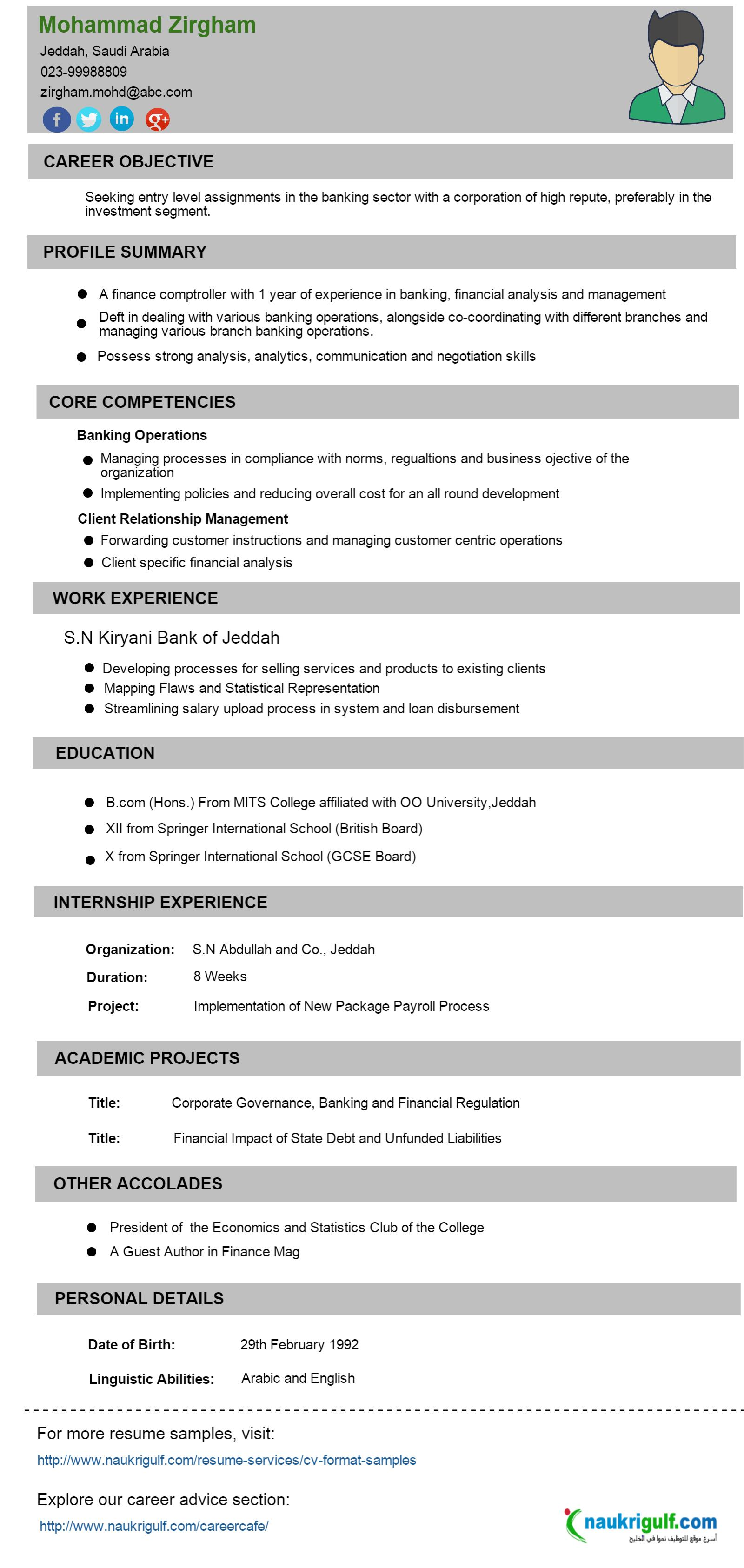 CV Format Banking Finance Resume Sample Naukriuglf – Resume Cv Format
