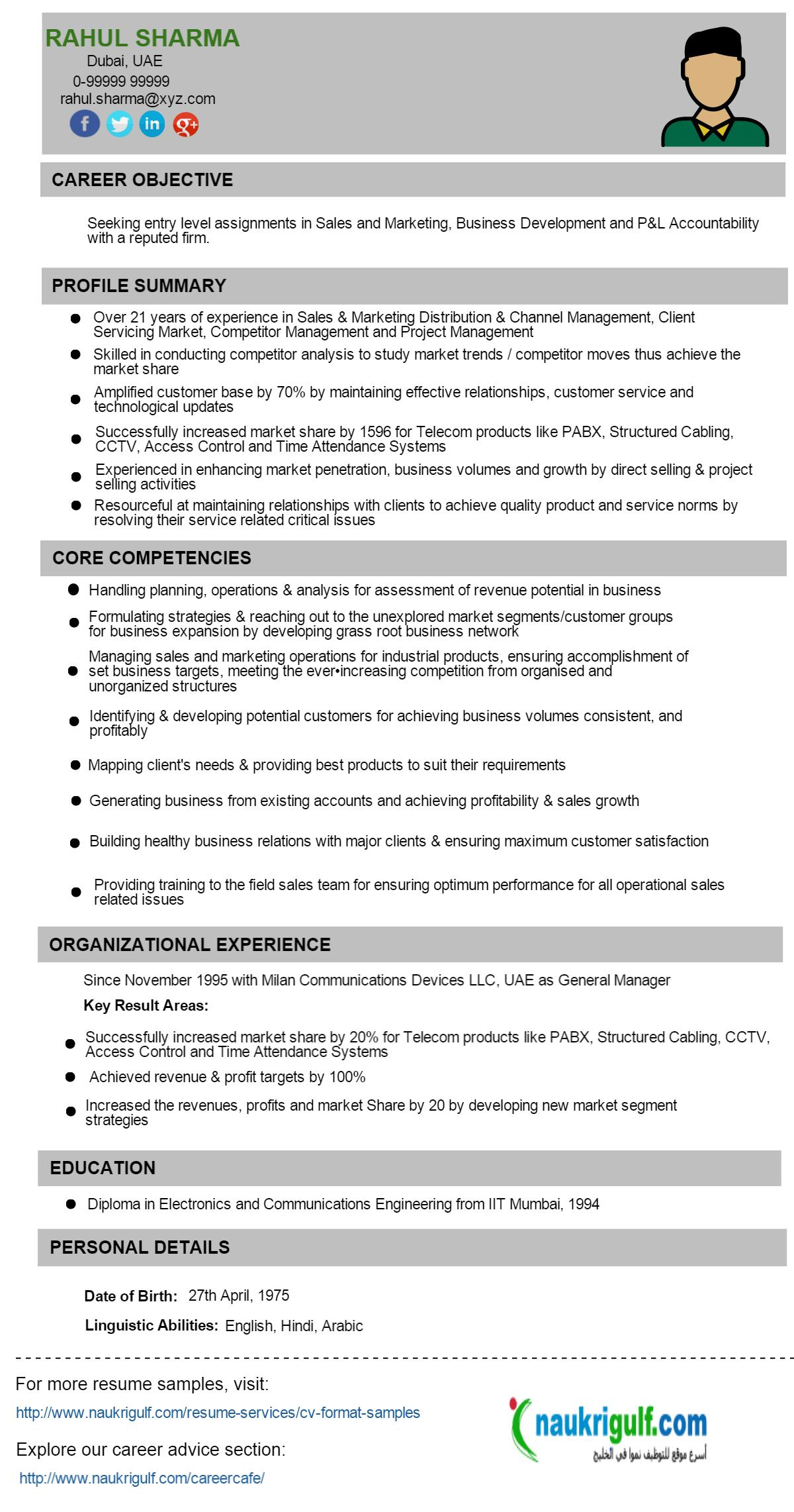 Business Development Manager CV Format Resume Sample – Resume Format for It Manager