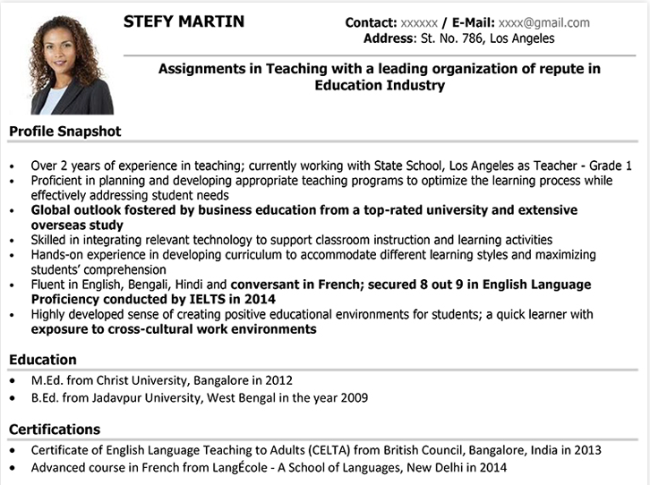 How To Write A Professional Teacher S Cv Example Format